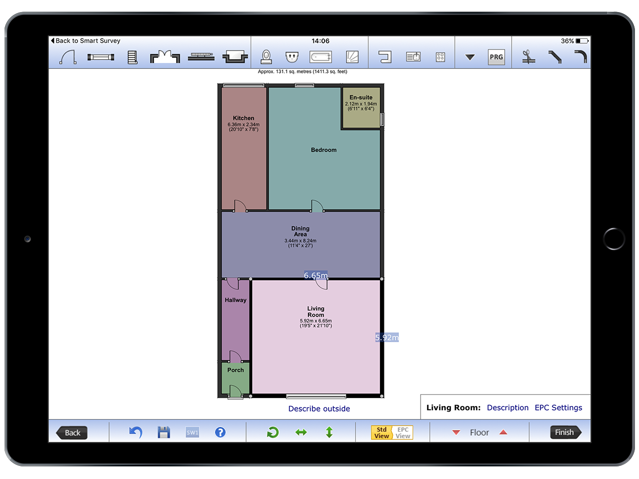 Etech leading green deal eco epc floor plan for Property site plan software